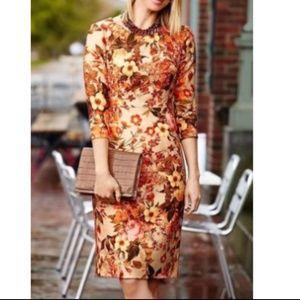 Talbots 8 Golden Blossom Floral Sheath Dress 3223